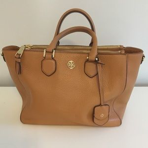 Tory Burch Bags - Tory Burch Tiger's Eye Pebbled Leather Square Tote